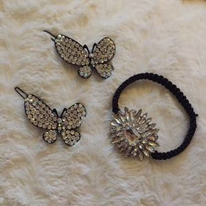 Jewelry - Butterfly Barrettes and Crystal Hair tie Bundle